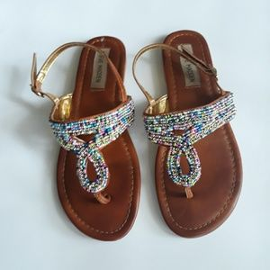 Steve Madden Girl's Beaded Sandals Size 4